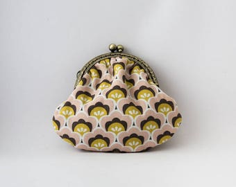 Purse retro 70s style print fabric, pink, Brown, mustard