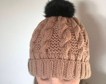 Fur Pompom hand knit hat