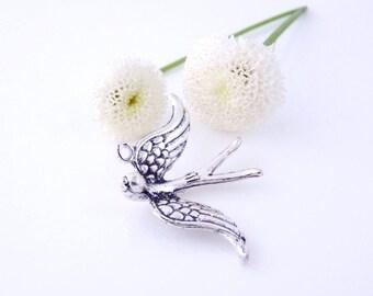 1 charm pendant bird in flight 31 x 22 mm - Silver (Ref: BP1722)