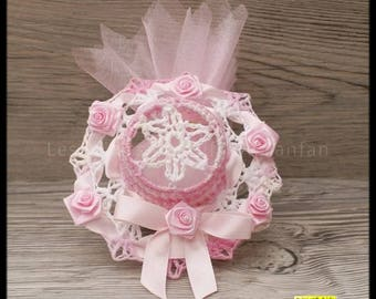 10 door sweets headpiece pink marbled and white for christening, wedding, communion, birthday or other