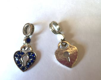 HEART key blue rhinestones