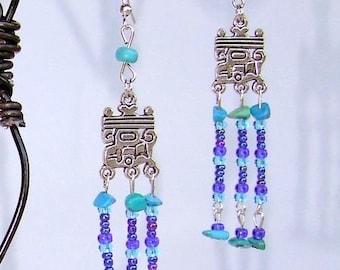 "Earrings dangle spirit Native American baptisees ""Inca"""