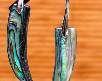Dangle earrings modern chic mother of Pearl abalone from New Zealand and silver plated metal