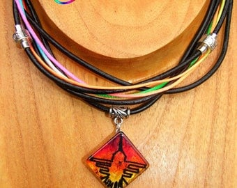 "Ethnic MULTISTRAND leather Rainbow cord and pendant handmade necklace ""Nazca Hummingbird"""