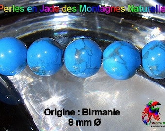 10 round beads 8 mm natural blue Turquoise - original mountain jade: Burma