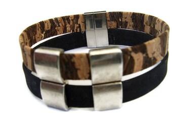 Two-tone man cork or veg-Tan Leather Bracelet