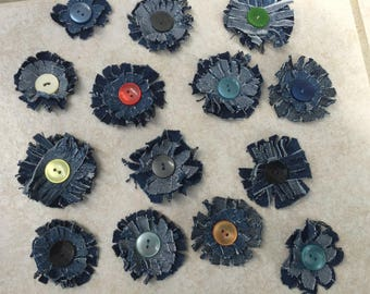 14 flower jeans hand made, to customize your creations, embellishment purse, hairclip, brooch, scrapbooking
