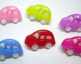 Set of 6 colorful cars buttons