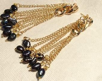 "Earrings ""Cassis berries"" dark blue keshi pearls and gold plated findings"