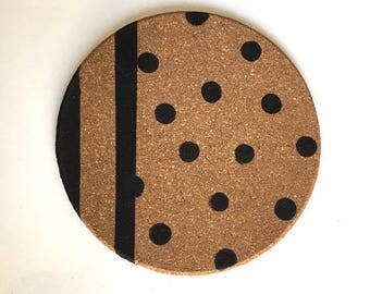 Black polka dot Cork trivet