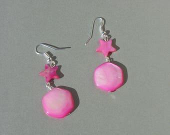"""""""Star"""" pink girly Pearl Earrings"""