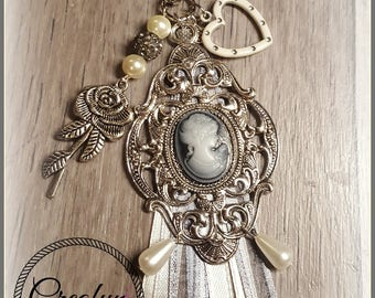 Victorian style cameo bag charm