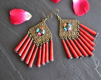 Long earrings, Bohemian chic style, handmade, jewelry Bohemian jewelry, boho, Hippie, ethnic