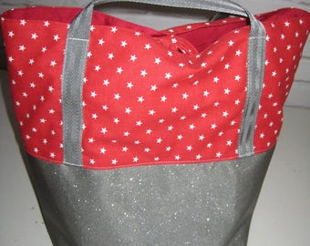 Starry summer faux glitter and cotton tote