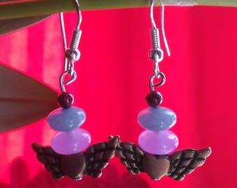 """""""winged heart"""" earrings"""