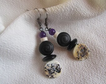 Earrings dangle ethnic coin glass speckled, Bohemian glass and gemstones in black, purple and ecru beads