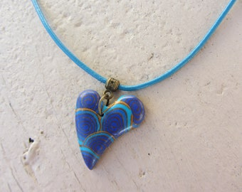 Necklace leather and polymer clay heart pendant necklace, turquoise, blue and bronze