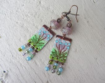Earrings Bohemians and bucolic, theme flower rondelle Lampwork, enameled copper charm dyed soft blue, green and purple