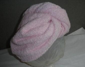 Pink Terry turban hair dryer.