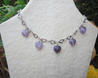 Amethyst heart and chain necklace silver heart