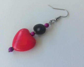 Stainless steel seed zanzibar and Red howlite stone earrings