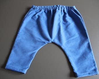 Harem pants for baby girl / boy in blue cotton
