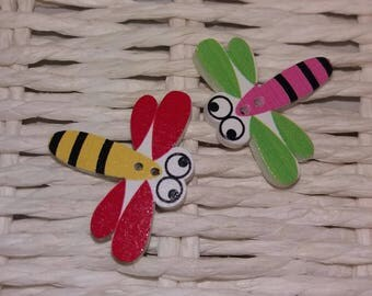 set of 2 Dragonfly embellishments-wooden buttons