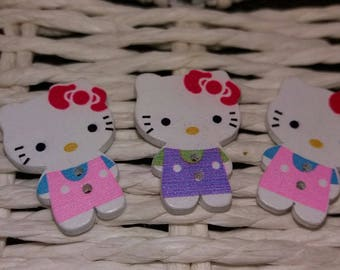 set of 3 wooden buttons hello kitty pink and purple