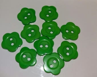 set of 10 green flower plastic buttons