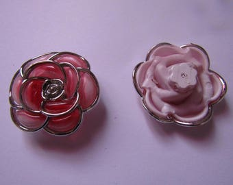 Red and Silver Flower bead 40mm in diameter