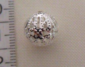 set of 10 ajouree12mm silver metal beads