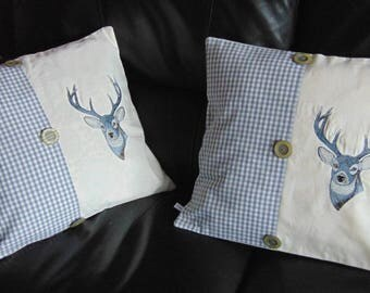 Embroidered with a stag 2 x cushion covers