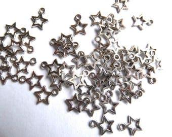 50 silver metal stars in 10 mm 12 mm wide long hole: 2 mm