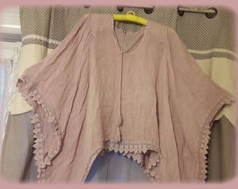 Romantic shabby powder pink linen and lace TUNIC