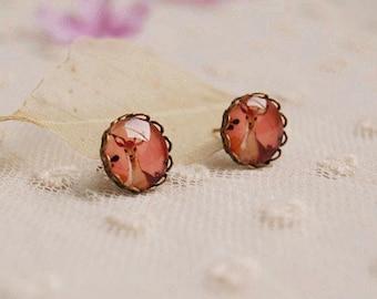 Retro Glass Earrings With Handpainted Red Deer 12 mm