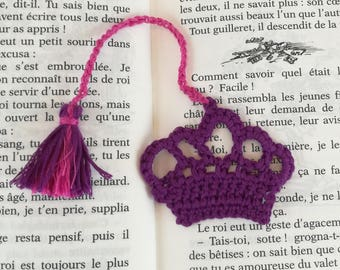 Crocheted cotton purple Crown bookmark