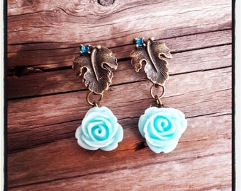 bronze leaf studs and blue resin Flower Earrings