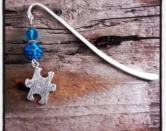 Blue puzzle silver charm bookmark