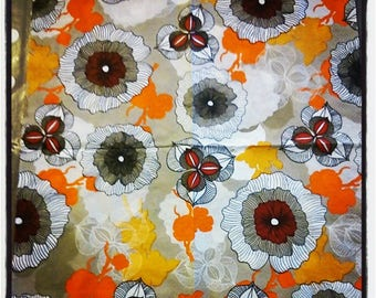Vintage flower napkin orange 33 x 33 cm