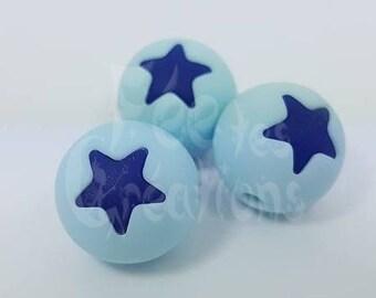 Perle étoile en silicone (Bleu clair/bleu foncé) pour attache tétine, hochet etc