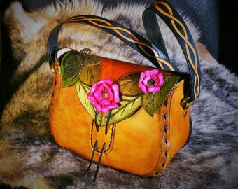 Tooled leather bag new medieval elven with roses