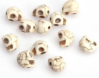 Set of 5 beads beads skulls skull with howlite head skull 10 x 10mm