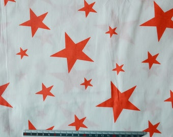 "Red satin white ""Stars"" pattern cotton fabric"