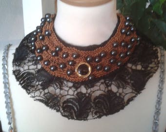 Lace, braid and beads, bronze and black wedding necklace.