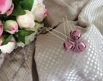 Set of three purple satin flower hair pins