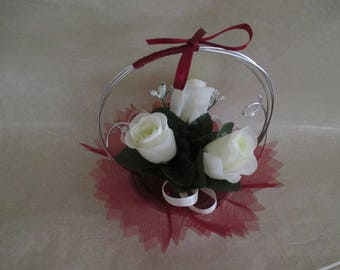 Table centerpiece, wedding, ivory and Burgundy