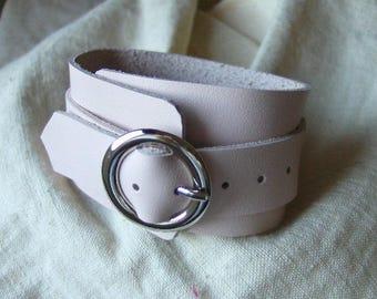 Powder Pink leather buckle bracelet