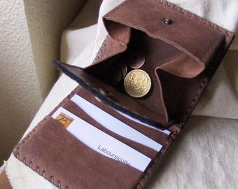 Leaves-Mint-brown leather card holder