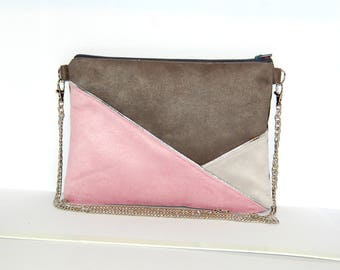 Pouch, bag suede 2 shades of grey, powder pink, silver graphic line