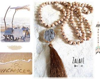 Necklace long druzy-golden-goldfilled-pompon-necklace necklace-collar crystal-collar druzy-camel-golden-beach tibet zen mala holidays